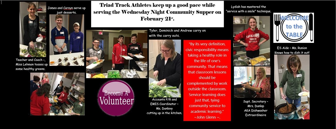 Triad Track Athletes keep up a good pace while serving the Wednesday Night Community Supper on February 21st.