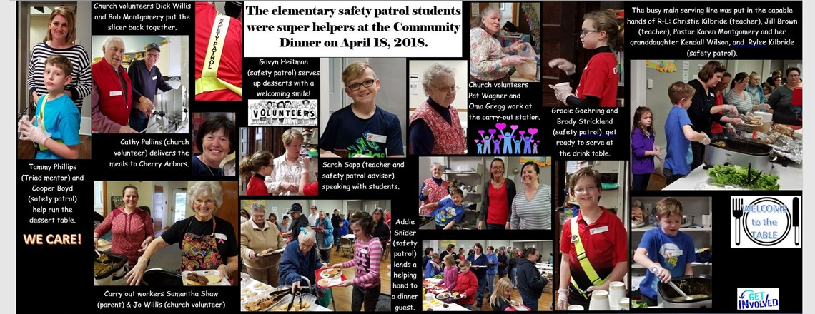 Elementary Safety Patrol students help.