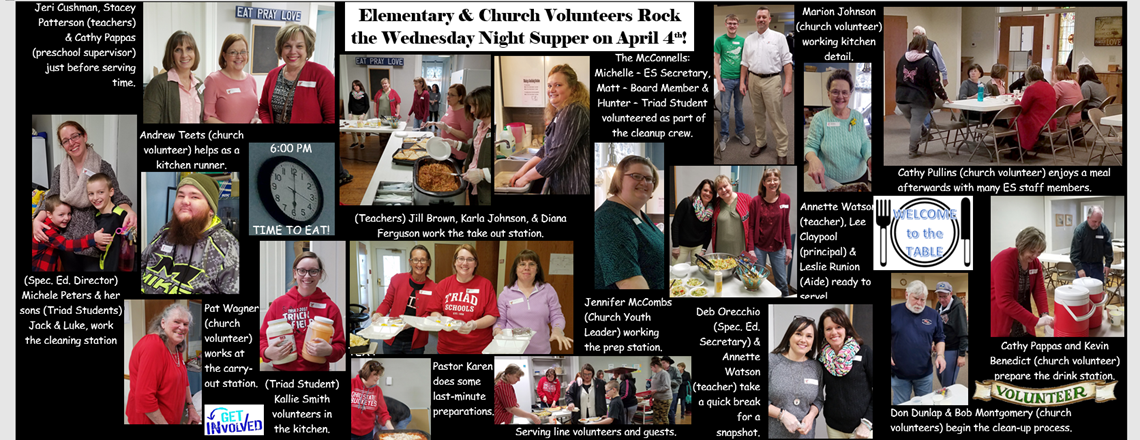 Elementary Staff Volunteers at April 4th Community Dinner